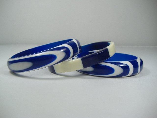 3 Vintage Lucite Sapphire Swirl Bangle Bracelet Set