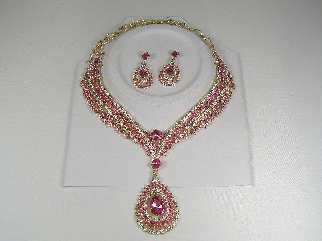 Rose Swarovski Crystal Necklace and Earring Set