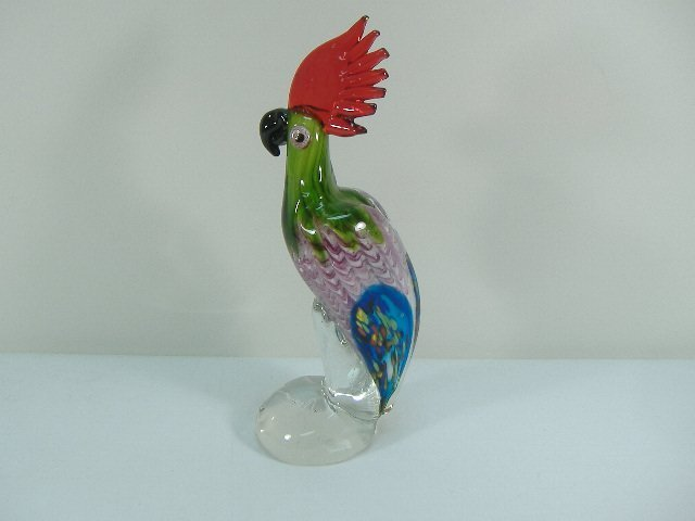 Signed Ann Primrose Murano Collection, Parrot Sculpture