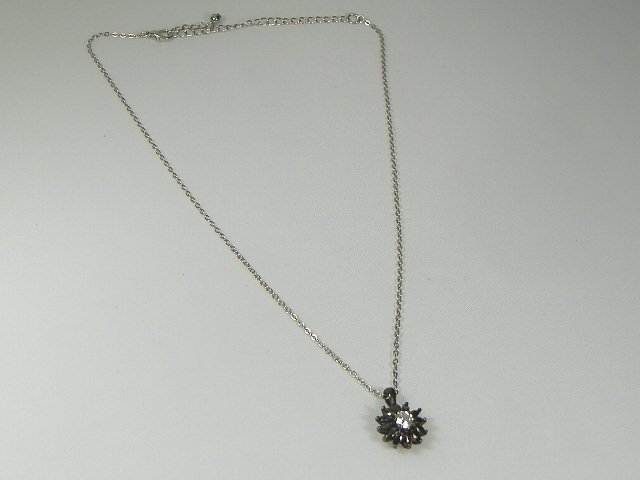 Vintage Crystal Onyx Starburst Pendant and Necklace