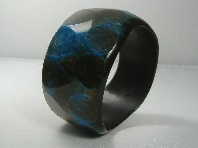 Vintage Lucite Aquamarine Bangle Bracelet