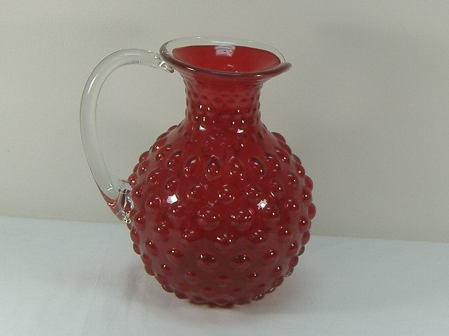 Ann Primrose Murano Collection Ruby Hobnail Pitcher