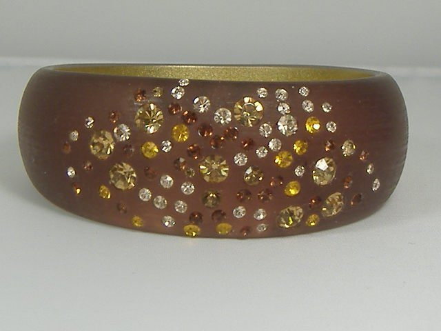Vintage Crystal Autumn Sunset Lucite Bangle Bracelet