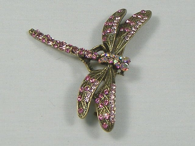 Vintage Swarovski Rose Crystal Drangonfly Pin/Brooch