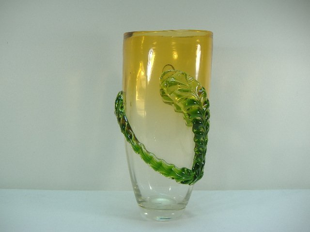 Ann Primrose Murano Collection Emerald Leaf Vase
