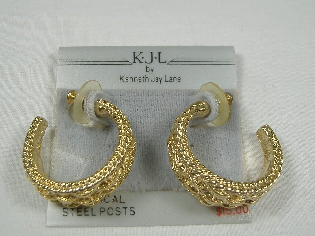 Vintage Kenneth Lane Gold Tone Post Earrings