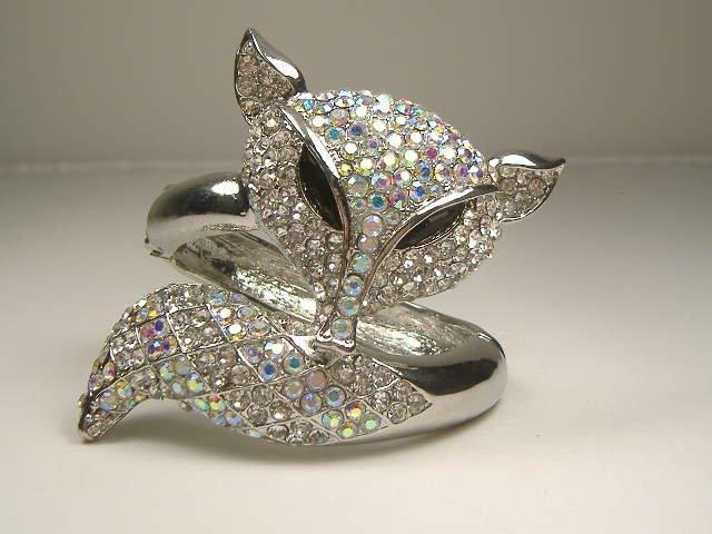 Vintage Swarovski Crystal Fox Bangle Bracelet