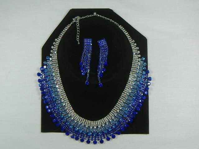 Vintage Sapphire Swarvoski Crystal Necklace Set