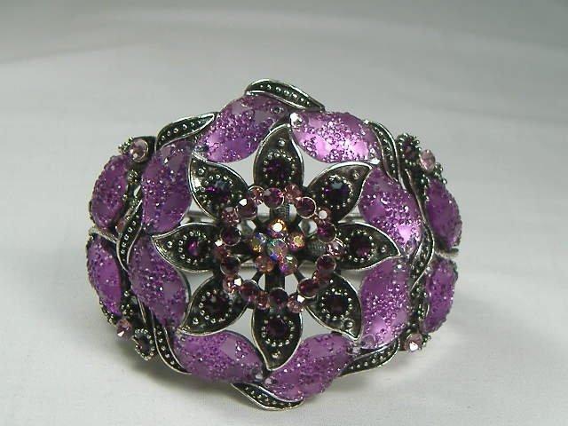 Vintage Amethyst Flower Swarovski Crystal Bangle