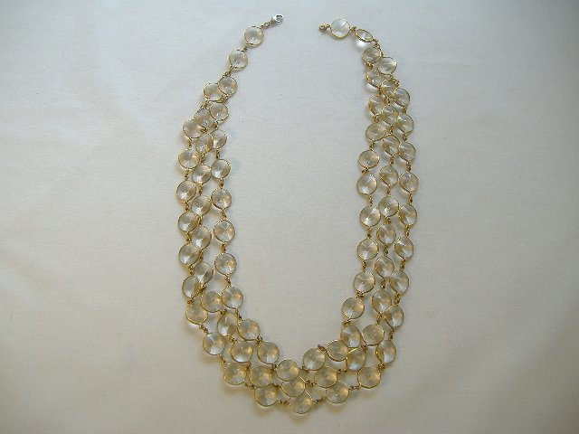 Vintage Crystal Triple Straded Chanel Necklace