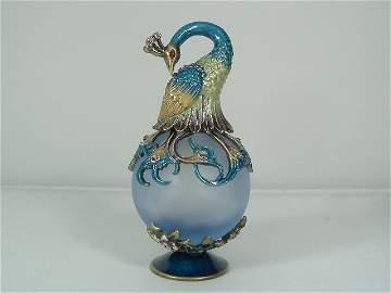 Vintage Sapphire Peacock Murano Perfume Bottle