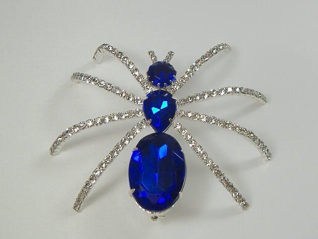 Vintage Swarovski Crystal Sapphire Spider Pin/Brooch
