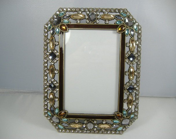 Vintage Crystal Peacock Picture Frame.