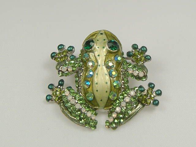 Vintage Swarovski Crystal Emerald Frog Pin/Brooch