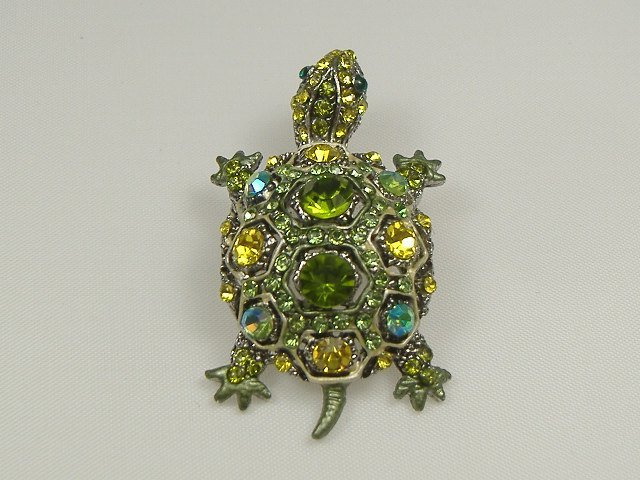 Vintage Swarovski Crystal Turtle Pin/Brooch/Pendant