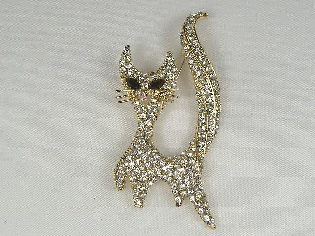 Vintage Swarovski Crystal Cat Pin/Brooch