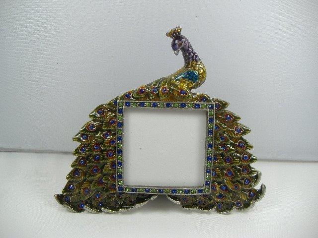 Vintage Swarovski Crystal Peacock Picture Frame