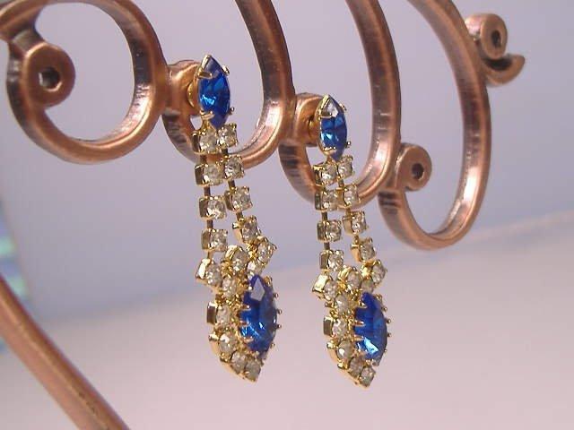 Vintage Sapphire Swarovski Crystal Earrings