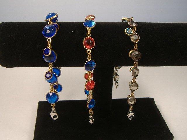 3 Vintage Bezel Crystal Tennis Bracelets