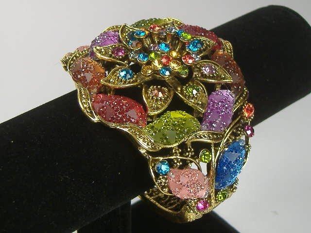 Vintage Swarovski Crystal Flower Bangle Bracelet