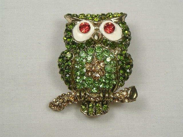 Vintage Emerald Swarovski Crystal Owl Pin/Brooch