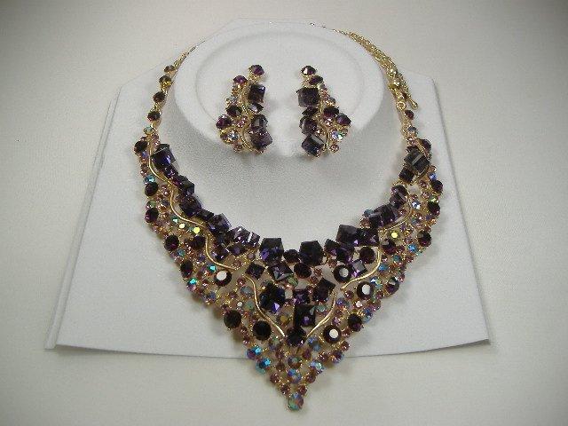Vintage Amethyst Swarovski Crystal Necklace & Earrings