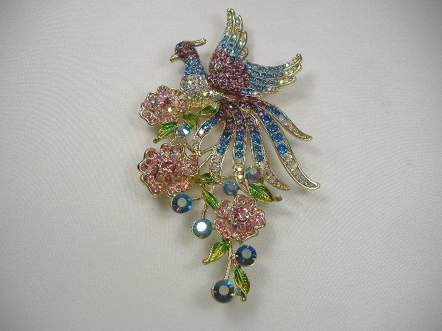 Vintage Swarovski Crystal Peacock on Roses Pin/Brooch