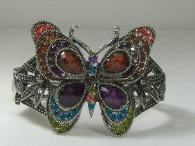 Vintage Swarovski Crystal Multicolored Butterfly Bangle