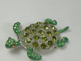 Vintage Emerald Swarovski Crystal Turtle Pin/Brooch