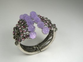 Vintage Amethyhst Swarovski Crystal Bangle Bracelet