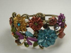 Vintage Swarovski Crystal Multicolored Ladybug Bangle