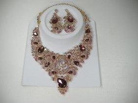 Vintage Onyx Swarovski Crystal Necklace & Earring Set