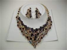 Vintage Amethyst Swarovski Crystal Necklace & Earrings