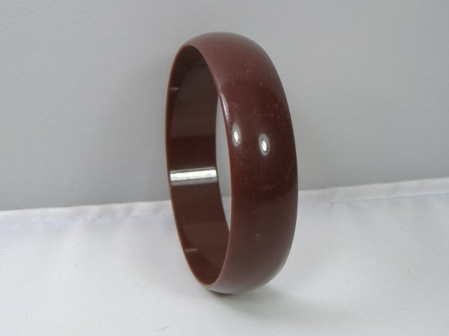 Vintage Lucite Dark Beige Bangle Bracelet