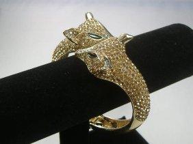 Vintage Beige Swarovski Crystal Fox Bangle Bracelet