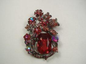 Vintage Rose Swarovski Crystal Flower Pin/Brooch