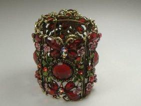 Vintage Ruby Swarovski Crystal Butterfly Bangle