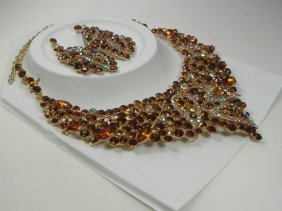 Vintage Beige Swarovski Crystal Necklace & Earring Set