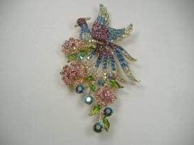 Vintage Swarovski Crystal Peacock on Roses Pin/Brooch