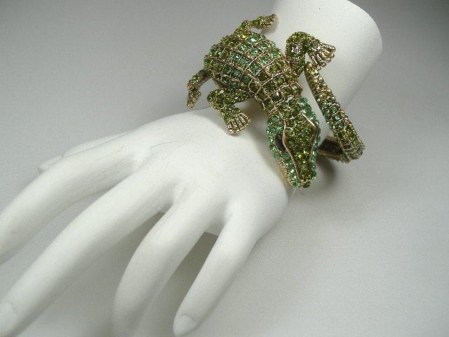 Swarovski Crystal Element Alligator Bangle Bracelet