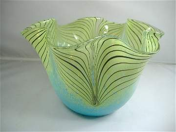 Murano Art Glass Peacock Feather Bowl