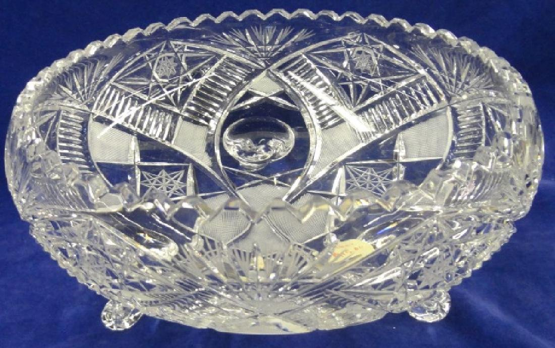 *AMERICAN BRILLIANT CUT GLASS FOOTED BOWL