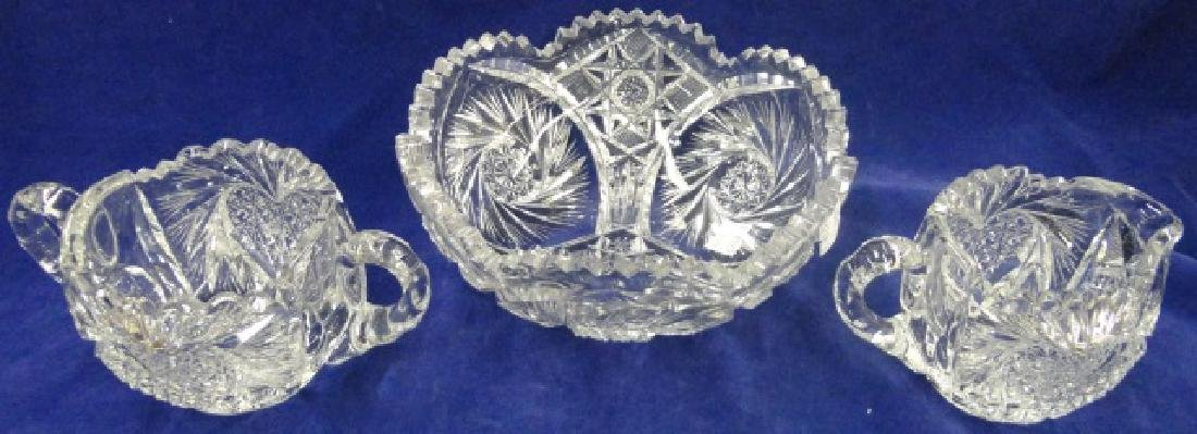 *3 PIECES OF AMERICAN BRILLIANT CUT GLASS