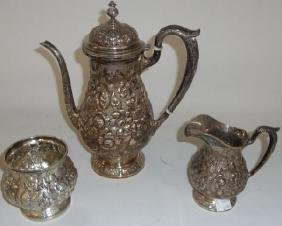 *3-PIECE FISHER STERLING SILVER COFFEE SERVICE