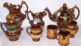 *8 PIECES OF 19TH C. COPPER LUSTRE
