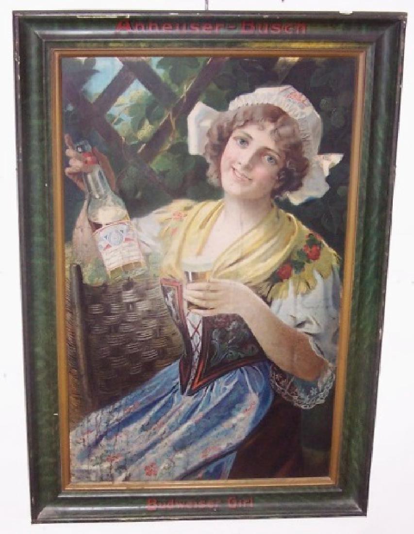 1909 BUDWEISER GIRL SELF-FRAMED TIN SIGN