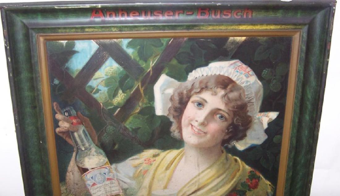 1909 BUDWEISER GIRL SELF-FRAMED TIN SIGN - 2