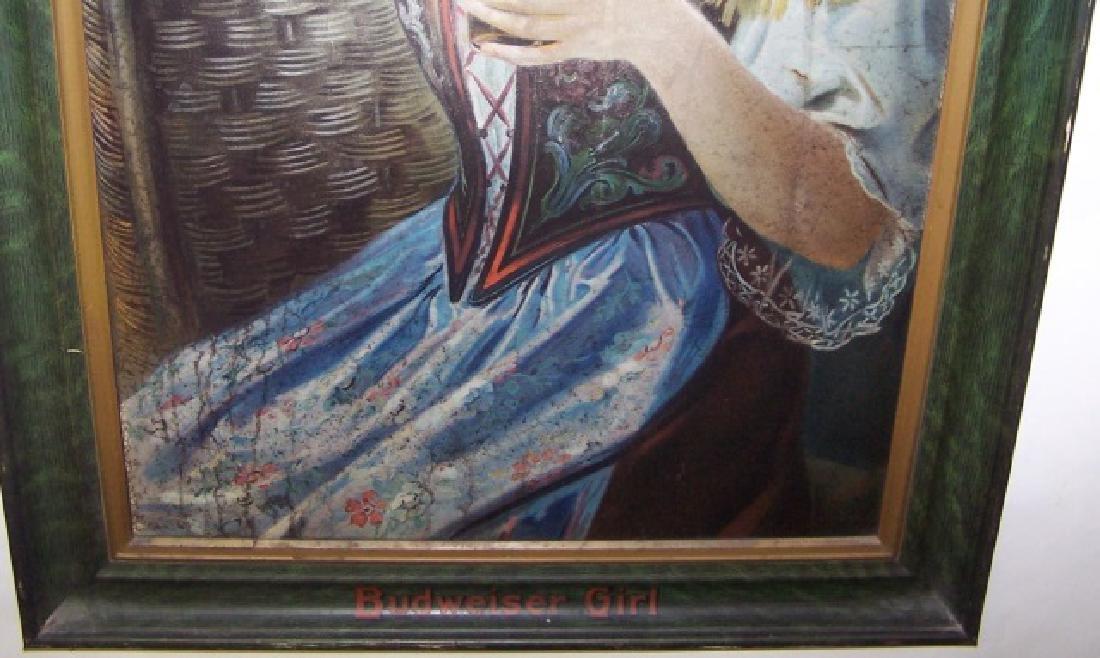 1909 BUDWEISER GIRL SELF-FRAMED TIN SIGN - 3