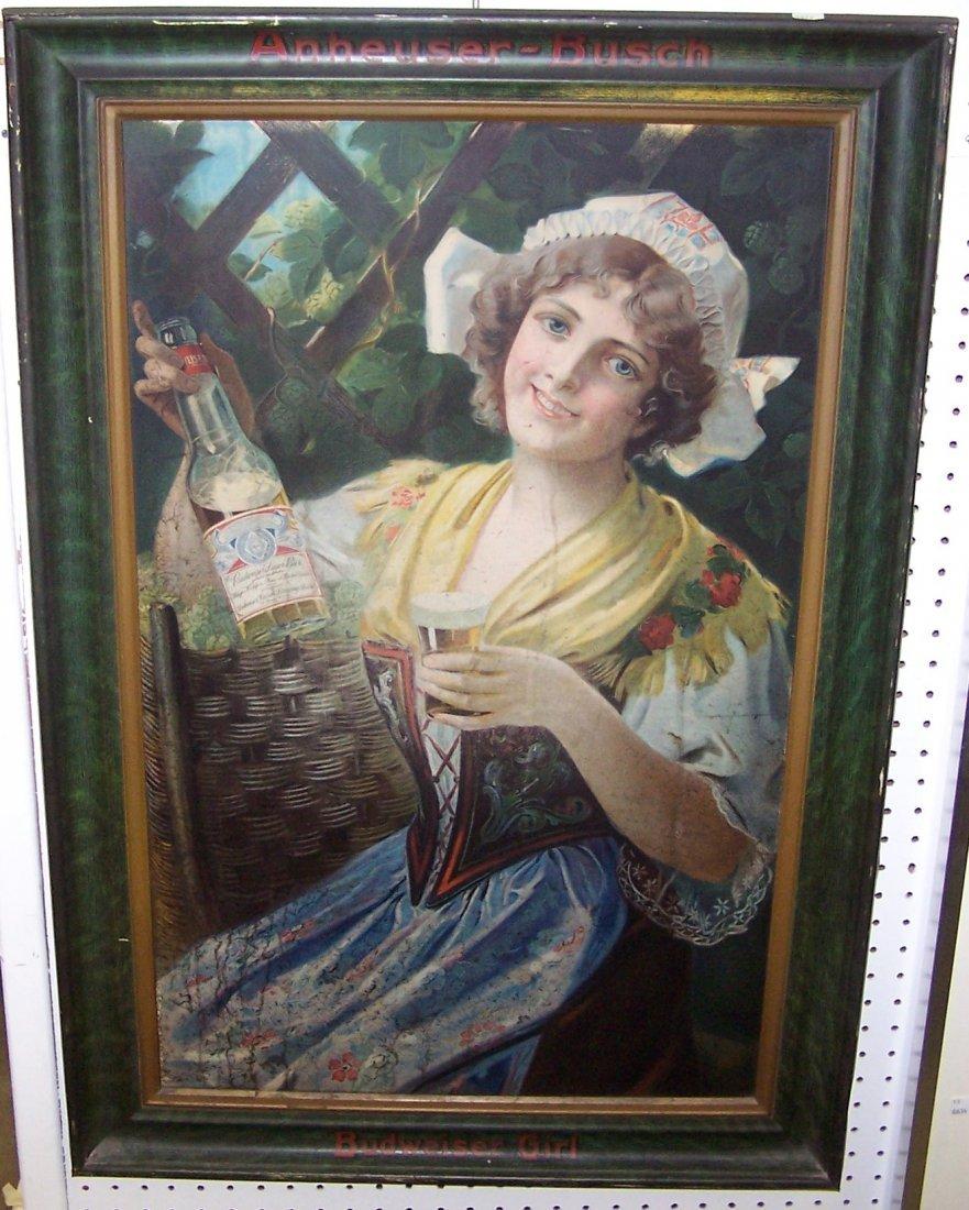 1909 BUDWEISER GIRL SELF-FRAMED TIN SIGN - 5