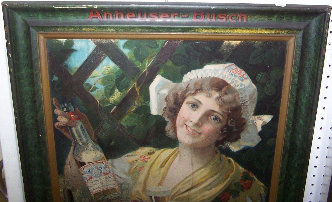 1909 BUDWEISER GIRL SELF-FRAMED TIN SIGN - 6